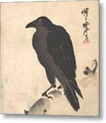Crow Resting On Wood Trunk Metal Print