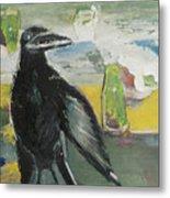 Crow Ruckus Metal Print