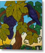 Crow With Wine On The Vine Metal Print by Stacey Neumiller