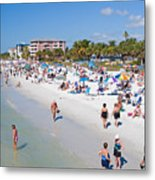 Crowd On A Summer Beach In Ft Meyers Florida Metal Print by ELITE IMAGE photography By Chad McDermott