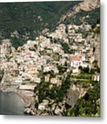 Crowded Slopes Of Amalfi Metal Print
