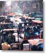 Crowded Streets Metal Print