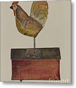 Crowing Cock Metal Print