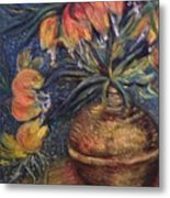 Crown Imperial Fritillaries In A Copper Vase Copy Metal Print