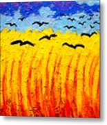 Crows Over Vincent's Field Metal Print