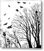Crows Roost 2 - Black And White Metal Print