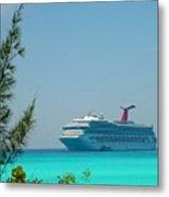 Cruise Ship At Half Moon Cay Metal Print