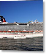 Cruise Ship Is Leaving The Port Metal Print