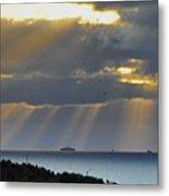 Cruise Ship Passing An Island As Sunrays Shine Through Clouds Metal Print