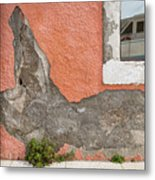Crumbled Plaster Of An Orange Wall, Reflection Of A Boat In The Window Metal Print