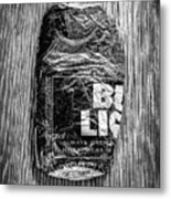 Crushed Blue Beer Can On Plywood 78 In Bw Metal Print
