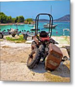 Crushed Tractor By The Sea On Island Prvic Metal Print