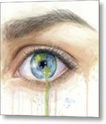 Earth In The Eye Crying Planet Metal Print