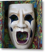 Crying Mask In Box Metal Print