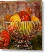 Crystal Bowl Of Fruit Metal Print