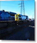 Csx Engines Going Bye Bound Brook Train Stations Metal Print
