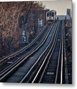 Cta Train Approaching Damen Avenue Station Chicago Illinois Metal Print