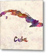 Cuba In Watercolor Metal Print
