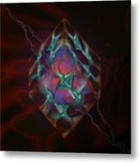 Cube With Thunders 01 Metal Print