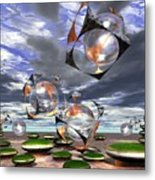 Cubes Capture Spheres In Another World Metal Print