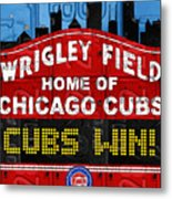 Cubs Win Wrigley Field Chicago Illinois Recycled Vintage License Plate Baseball Team Art Metal Print