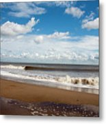 Cumulus Clouds Passing Across The Beach At Skegness Lincolnshire England Metal Print