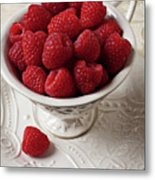 Cup Full Of Raspberries  Metal Print