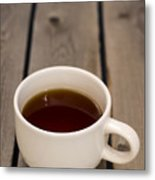 Cup Of Black Coffee On Bare Table Metal Print