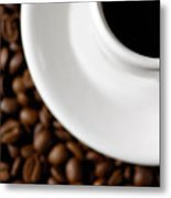 Cup Of Black Coffee On Coffee Beans Metal Print