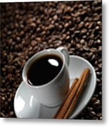 Cup Of Coffe On Coffee Beans Metal Print