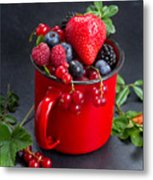 Cup Of Fresh Berries Metal Print
