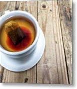 Cup Of Hot Tea On Wood Table Metal Print