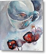 Cup With Cherry Metal Print