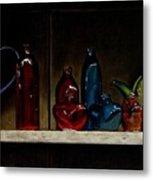 Cupboard Bottles Metal Print by Doug Strickland