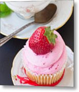 Cupcake With Strawberry Metal Print