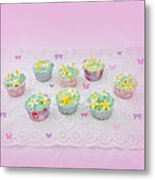Cupcakes And Butterflies Metal Print
