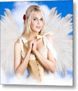 Cupid Angel Of Love Flying High With Fairy Wings Metal Print