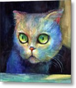 Curious Kitten Watercolor Painting  Metal Print