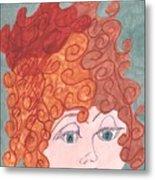Curly Red Hair Metal Print