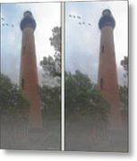 Currituck Beach Light Station - 3d Stereo Crossview Metal Print