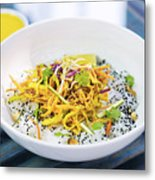 Curry Sauce Vegetable Salad With Noodles And Sesame Metal Print