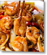 Curry Shrimp And Peppers On White Serving Plate Ready To Eat Metal Print