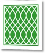 Curved Trellis With Border In Dublin Green Metal Print