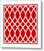 Curved Trellis With Border In Red Metal Print