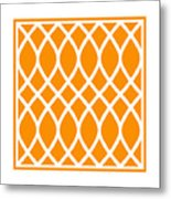 Curved Trellis With Border In Tangerine Metal Print
