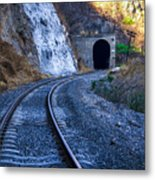 Curves On The Railways At The Entrance Of The Tunnel Metal Print