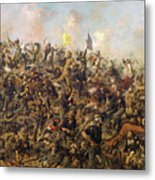 Custer's Last Stand From The Battle Of Little Bighorn Metal Print