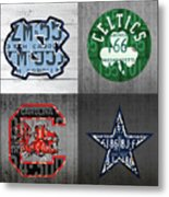 Custom 4 Team License Plates Sport Art No 1 Metal Print