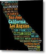Custom Silhouette Art Print, Pop Art California Map, Modern Style Country Map, Country Maps For Home Metal Print