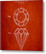 Cut Diamond Patent From 1873 - Red Metal Print